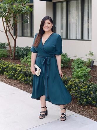 curvy girl chic - plus size fashion and style blog blogger dress shoes bag midi dress wrap dress blue dress clutch sandals spring outfits