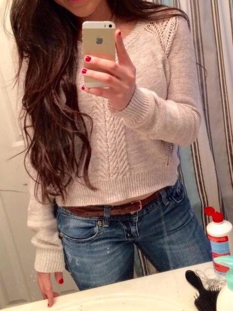 shirt long sleeves beige sweater