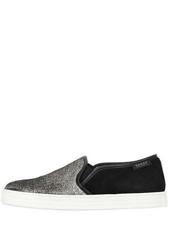 suede sneakers metallic sneakers leather suede black shoes