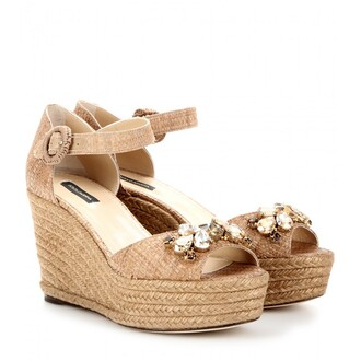 shoes wedges open toes wedge sandals summer spring tan crystal fashion girly style chic girl bianca 2014 dolce and gabbana espadrilles