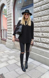 sweater,pullover,casual,long sleeves,style,hat,ripped jeans,black,bag,boots,simple et chic,knitted sweater,knitwear