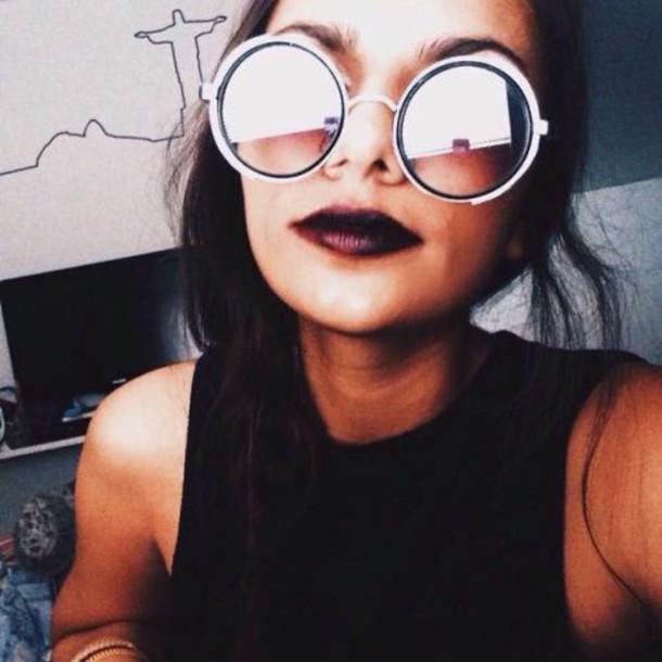 sunglasses round frame glasses round sunglasses white black round sunglasses