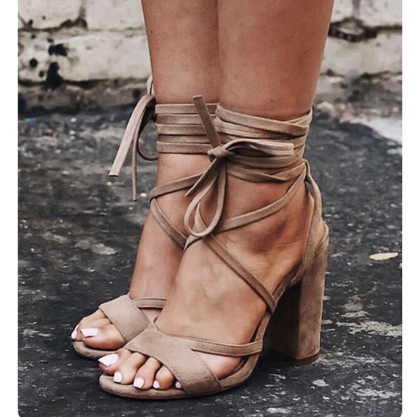 Shoes, suede, suede shoes, tan, nude, strappy, strappy
