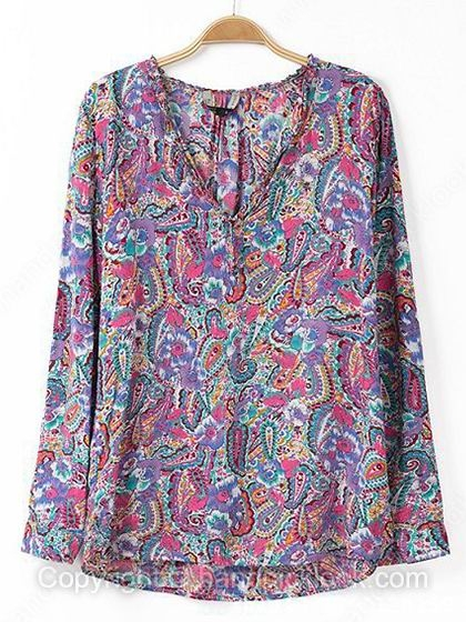 Purple V-neck Long Sleeve Paisley Pattern Blouse - HandpickLook.com
