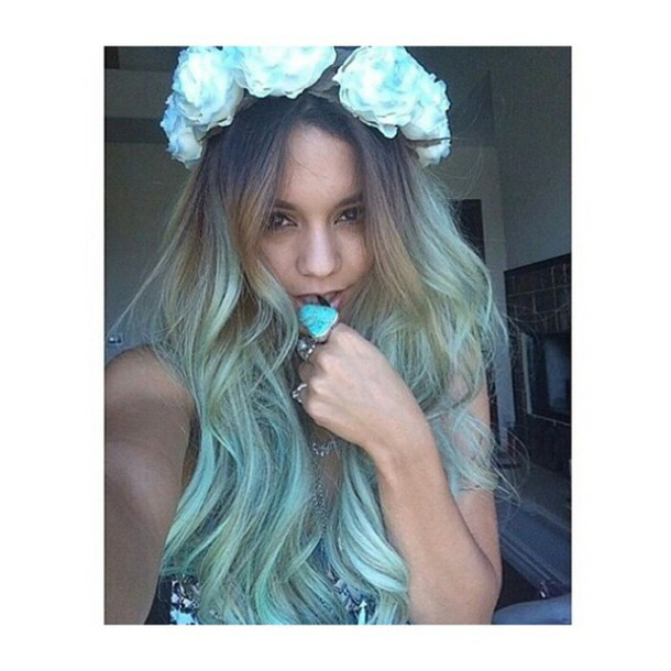 flower crown vanessa hudgens blue hair accessory