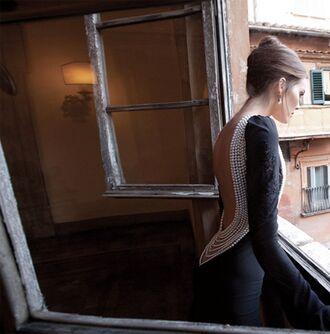 dress dress with back pearls black dress backless dress
