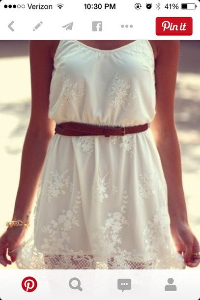 dress white lace country boho sundress vintage