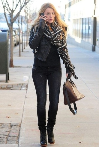 jacket celebrity serena gossip girl serena van der woodsen beautiful leather black scarf shoes pants jeans dark blake lively black leather jacket printed scarf