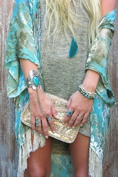 blouse,dress,turquoise,summer,jewels,coat,cardigan,jacket,kimono,blue kimono,blue and been kimono,blue and green fringe kimono,gypsy,boho,hippie,summer outfits,jewelry,bag,blue,green,festival,ring,bracelets,pareo,silver,swimwear,beach,party,fringes,boho chic,soft,silk,bronze,blond,blonde hair,clutch,pants,boho jewelry,Dusty Junk,gypsy inspired,stacked bracelets