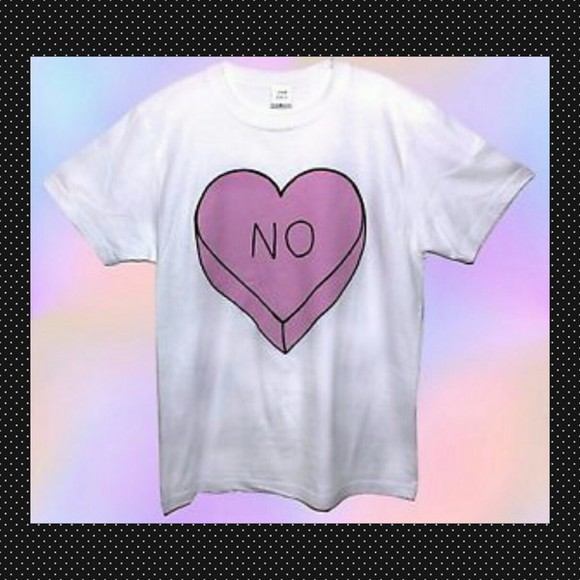 funny white t-shirt printed printed tshirt love heart no