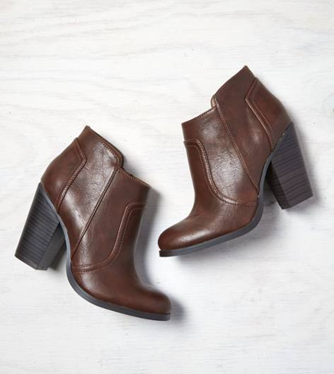 AEO Stacked Heel Bootie, Brown | American Eagle Outfitters