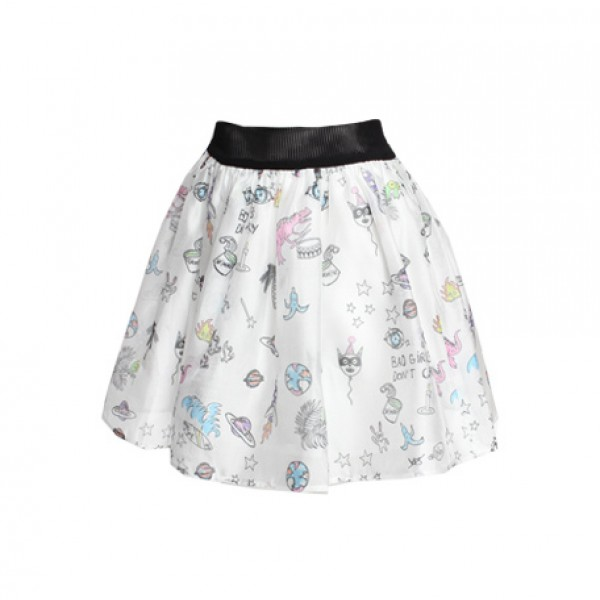 I Love Comics Skirt - White - Bottoms - Clothing