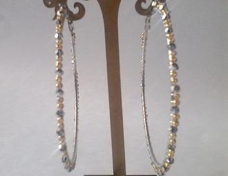 jewels hoop earrings earrings beaded hoop earrings silver and gold