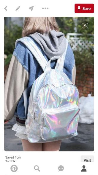 bag holographic grunge iridescent backpack