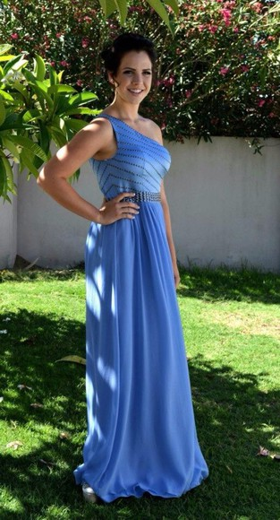 dress blue prom formal oneshoulder zipup homecoming