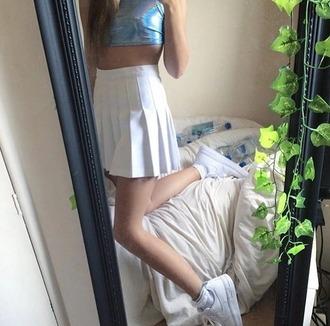 skirt skater skirt grunge grunge skirt holographic holographic shirt white skirt tumblr outfit tumblr girl shirt