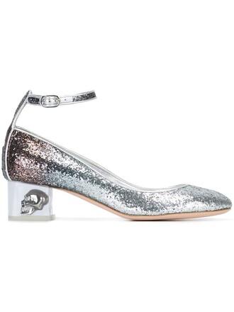 heel skull pumps metallic shoes