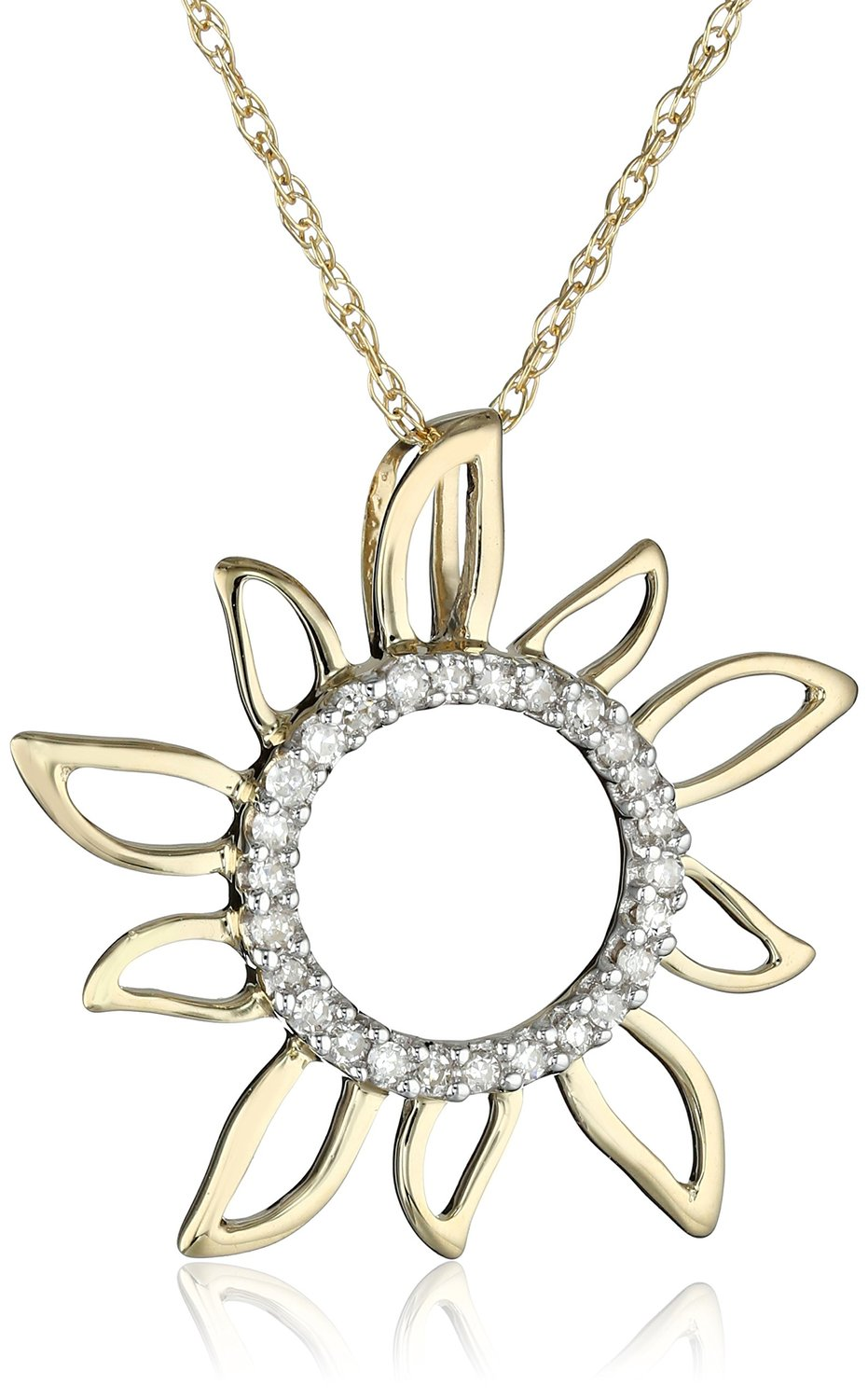 Amazon.com: 10k Yellow Gold Diamond Sun Pendant (0.08 cttw, I-J Color, I2-I3 Clarity), 18