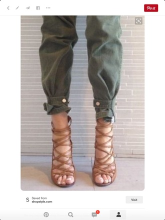 pants army green button cuff army pants skinny pants