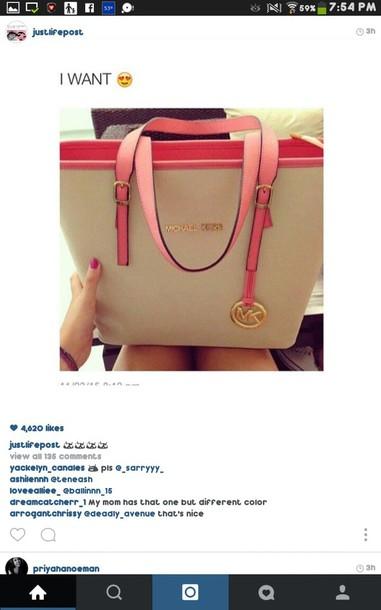 bag michael kors handbag pink tan