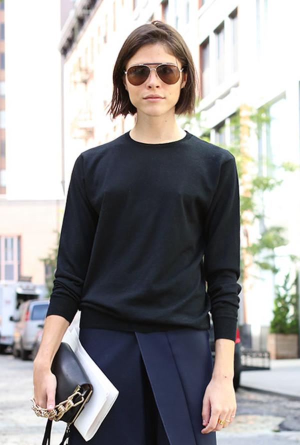 le fashion image sunglasses sweater skirt shoes