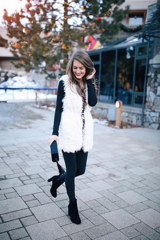 southern curls and pearls blogger jacket shoes bag jewels t-shirt leggings fur vest winter outfits vest ankle boots white fur vest