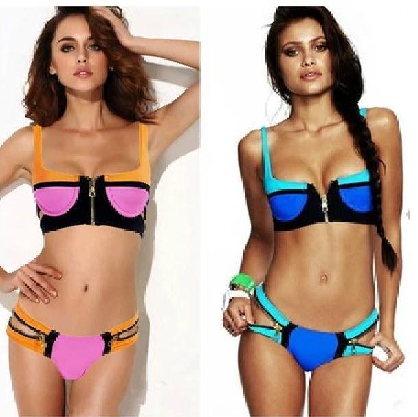 Zipper colorful sexy bikini / tourtownbeach