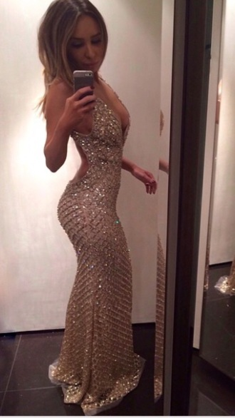 this one prom dress long prom dress formal dress sequin dress sexy dress backless dress crystal cleavage prom gown