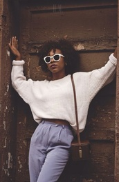 pants,sweater,bag,jeans,purse,glasses,curly hair,natural hair,90s style,black girls killin it,white sweater,chunky sweater,sweater weather,old school,pastel,oversized sweater,beige,bleu,grey,Bah,vintage,high waisted pants,cream,wool,big,thick,blue,school bag