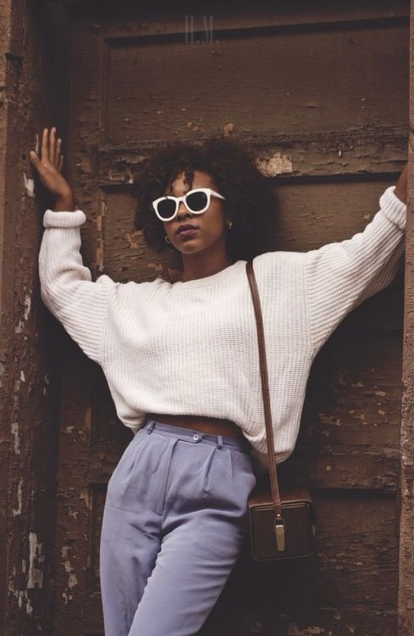 pants sweater bag jeans purse glasses curly hair natural hair 90s style black girls killin it white sweater chunky sweater sweater weather old school pastel oversized sweater beige bleu grey Bah vintage high waisted pants cream wool big thick blue pants school bag blue pants