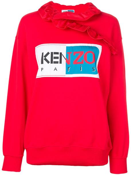 Kenzo - logo patch frill sweatshirt - women - Cotton/Acetate - S, Red, Cotton/Acetate