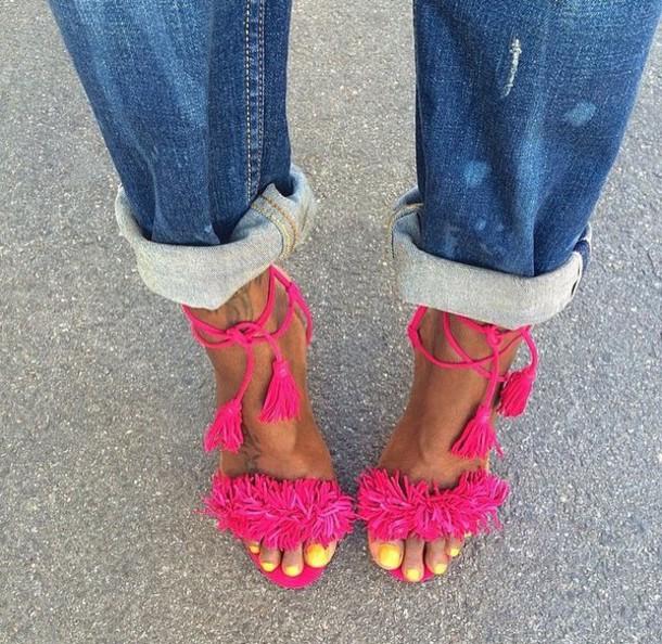 shoes, pink, fuchsia, tie up, tassel