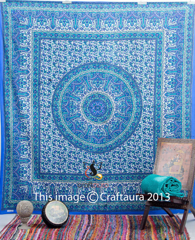 Blue Hippie Mandala tapestry Wall Hanging Indian Bedspread Bohemian Tapestries