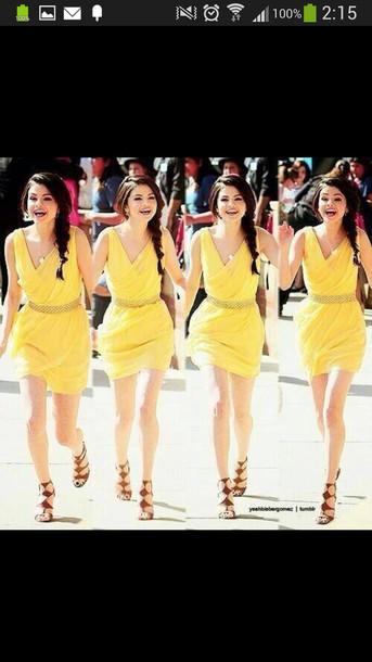 dress yellow dress selena gomez