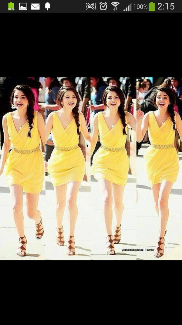 dress yellow dress selena gomez