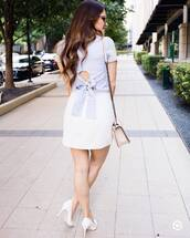 top,tumblr,blue top,open back,backless,skirt,mini skirt,white skirt,pumps,pointed toe pumps,high heel pumps,shoes