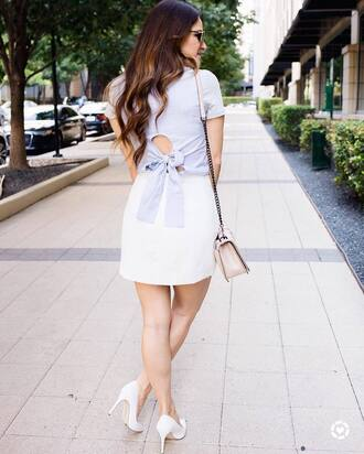 top tumblr blue top open back backless skirt mini skirt white skirt pumps pointed toe pumps high heel pumps shoes