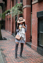 dress,tumblr,grey dress,sweater dress,scarf,checkered,hat,fedora,felt hat,boots,grey boots,over the knee boots,thigh high boots,bag,nude bag,gucci,gucci bag