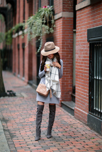 dress tumblr grey dress sweater dress scarf checkered hat fedora felt hat boots grey boots over the knee boots thigh high boots bag nude bag gucci gucci bag