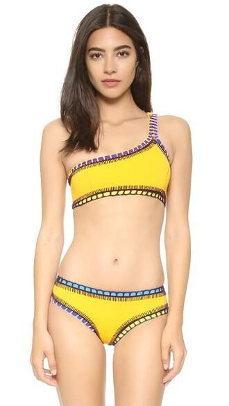 bikini bikini top yellow bright swimwear