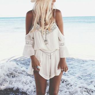 jumpsuit boho bohemian hippie lace white fashion summer dress