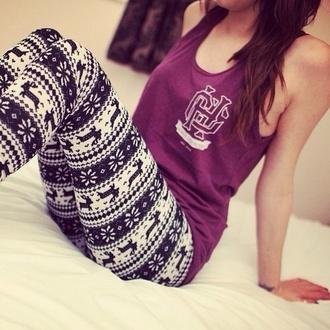 pants shirt leggings pattern deer black white