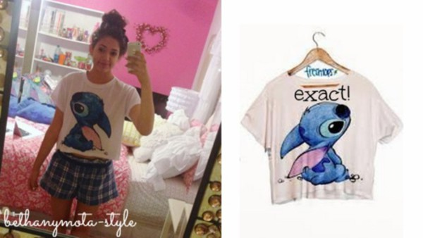 shirt white stitch crop tops