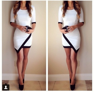 dress white-black asymmetrical