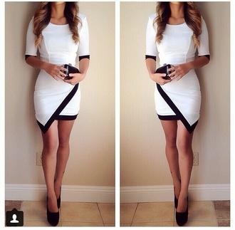dress white-black asymmetrical