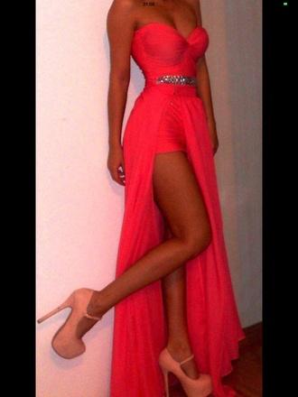 dress coral neon fluo mini waist long summer