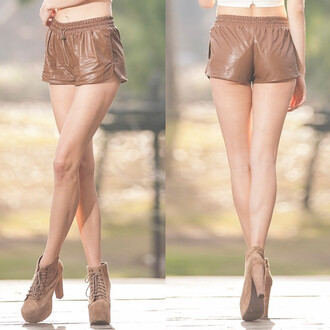 shorts down under faux leather brown mini vanity vanity row dress to kill epic vogue party outfits