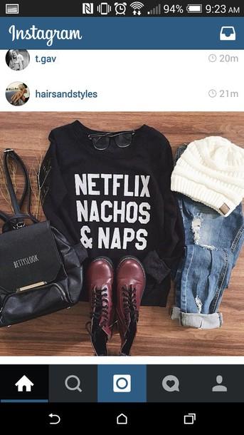 shirt sweater black white letters netflix nachos naps cozy cute warm