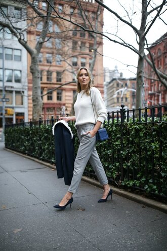 the classy cubicle blogger coat sweater pants shoes bag jewels blue bag winter outfits high heel pumps pumps