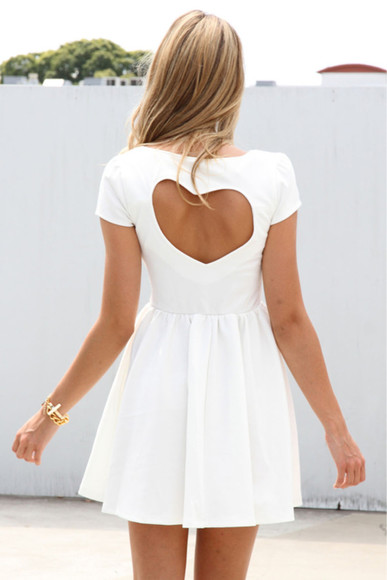 short sleeved white dress heart heart cut out short sleeved dress cut out dress cut-out white dress cute back shape lake girl perfect hair heart shaped open heart back short dress